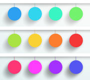 Vector Set Of 3d Blank Colorful Circle Frames Hanging. Vector set of 3d colorful frame circles hanging from wires with blank space for text or pictures with Stock Images