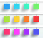 Vector Set Of 3d Blank Colorful Square Frames Hanging Stock Photo