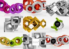 Vector set of 3d circle abstract backgrounds Royalty Free Stock Images