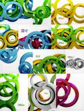 Vector set of 3d circle abstract backgrounds Stock Images