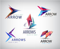 Vector set of 3d colorful arrow logos, icons.  Stock Photo