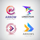 Vector set of 3d colorful arrow logos, icons. Isolated Stock Image