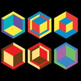 Vector set of 3d geometric logo cubes. Vector set of 3d geometric cubes. Abstract logo collection ideas isolated on black background Royalty Free Stock Photo