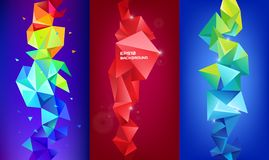 Vector set of 3d geometric shapes. Facet vertical banners, posters. Trinagle multicolot concept. Background vector illustration