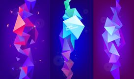 Vector set of 3d geometric shapes. Facet vertical banners, posters. Trinagle multicolot concept. Background royalty free illustration