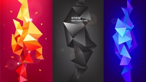 Vector set of 3d geometric shapes. Facet vertical banners, posters. Trinagle multicolot concept. Background stock illustration