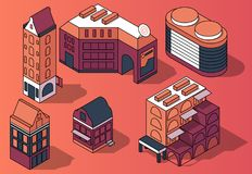 Vector set of 3D isometric residential multi-storey buildings. Houses in modern and retro style in pink and purple colors isolated on background. Design vector illustration