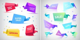 Vector set of 3d origami faceted bubbles, banners, tags, text spaces.  Royalty Free Stock Photos