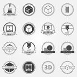 Vector set of 3d printing emblems or logos Royalty Free Stock Images