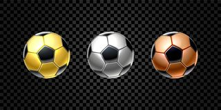 Vector set of 3d realistic football ball in golden, silver and bronze color for soccer isolated on transparent. Background. Reward, trophy, prize. Game stock illustration