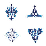 Vector Set of Damask Ornamental Elements. Blue Elegant Royalty Free Stock Photo