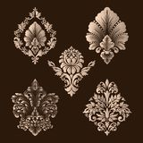 Vector set of damask ornamental elements. Elegant floral abstract elements for design. Perfect for invitations, cards. Etc royalty free illustration