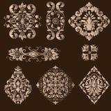Vector set of damask ornamental elements. Stock Photos