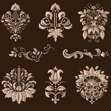 Vector set of damask ornamental elements. Royalty Free Stock Image