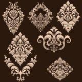 Vector set of damask ornamental elements. Royalty Free Stock Photo
