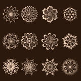 Vector set of damask ornamental elements. Elegant floral abstract elements for design. Perfect for invitations, cards etc Stock Images