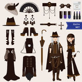 Vector set with dark goth characters of young sad girl nd boy in gothic style clothes. Collection of aaccessories as umbrella, lon Stock Photo