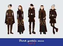 Vector set with dark gothic young men. Guys standing and watching at spectator. Dark clothes in goth style  on background. Vector set with dark gothic young men Royalty Free Stock Image