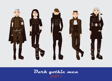 Vector set with dark gothic young men. Guys standing and watching at spectator. Dark clothes in goth style isolated on background. Stock Photo