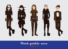 Vector set with dark gothic young men. Guys standing and watching at spectator. Dark clothes in goth style isolated on background. Royalty Free Stock Photo