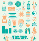 Vector Set: Day at The Spa Icons and Symbols Royalty Free Stock Images