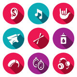 Vector Set of Deafness Icons. Ear, sound, sign language, anvil, cotton swab, boric acid, hearing aid, earring, headphone Stock Photo