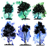 Vector set of deciduous trees Royalty Free Stock Photos