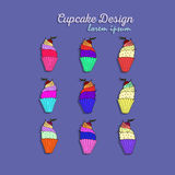 Vector set with decorated cupcakes Royalty Free Stock Photography