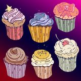 Vector set with decorated sweet cupcakes. on gradient red and pink  background.Design elements for you  visiting, booklet, Stock Image