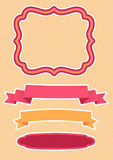 Vector set for decoration - ribbons and frame Stock Image