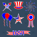 Vector set of decorations for 4th of July. Stickers for your 4th of july design. Vector elements for celebration happy independence day Royalty Free Stock Image