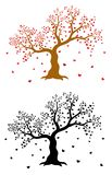Vector set of decorative, abstract tree with hearts and two birds, colorful and in black color on white background stock illustration