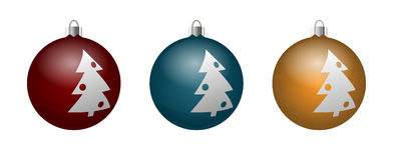 Vector set of decorative balls with the image  xmas tree. Stock Photos