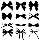 Vector set of decorative bow silhouette. Vector set of different black bow silhouette vector illustration