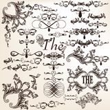Vector set of decorative calligraphic elements in vintage style Stock Image
