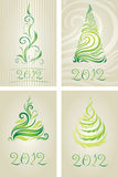 Vector set of decorative cards with Christmas tree Royalty Free Stock Image