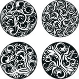 Vector set of decorative circle with swirls Royalty Free Stock Photo
