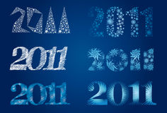 Vector set of decorative cute frozen signs 2011. (from my Christmas and New Year collection Royalty Free Stock Photo
