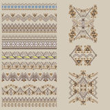 Vector set of decorative elements for design and fashion in ethnic tribal style. Borders and patterns collection Stock Photography