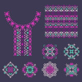 Vector set of decorative elements for design and fashion in ethnic tribal style Royalty Free Stock Photo