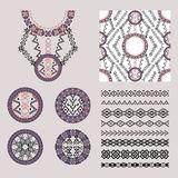 Vector set of decorative elements for design and fashion in ethnic tribal style Stock Photo