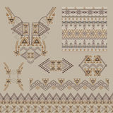 Vector set of decorative elements for design and fashion in ethnic tribal style. Neckline, borders, patterns and seamless texture Royalty Free Stock Photos
