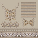 Vector set of decorative elements for design and fashion in ethnic tribal style. Neckline, borders, patterns and seamless texture Stock Photos