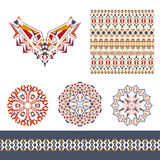 Vector set of decorative elements for design and fashion in ethnic tribal style. Neckline, seamless, border and mandala patterns Royalty Free Stock Image