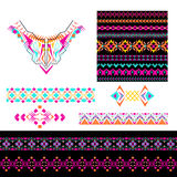 Vector set of decorative elements for design and fashion in ethnic tribal style. Neckline, seamless, borders and patterns. Collect Royalty Free Stock Photo