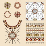 Vector set of decorative elements for fashion in ethnic style Royalty Free Stock Photography