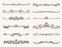 Vector set of decorative elements,  frame and line vintage style. Drawing vector illustration Stock Photos