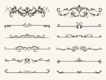 Vector set of decorative elements,  frame and line vintage style. Drawing vector illustration Stock Photo