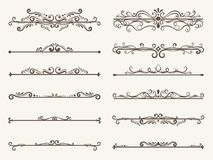 Vector set of decorative elements,  frame and line vintage style. Drawing vector illustration Stock Photography