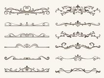 Vector set of decorative elements,  frame and line vintage style. Drawing vector illustration Stock Image